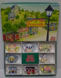 Roseville - 1997 Tea Pot Set, Tea Box, Different Types Of Tea, Red Rose Tea, Small Tea, Vintage Packaging, Miniature Figurines, Gifts For Family, Vintage Patterns