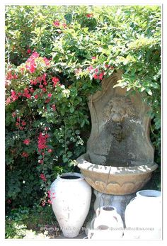 Southern Garden Lion Fountain Print by Renee Dent Blankenship for theRDBcollection, choose from several sizes