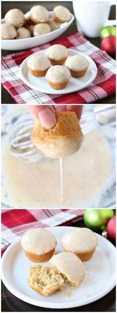 Mini eggnog doughnut muffins with a creamy egg nog glaze. These eggnog doughnut muffins are perfect for Christmas breakfast or brunch. Noel Christmas, Christmas Baking, Snack Recipes, Dessert Recipes, Snacks, Seafood Recipes, Cupcakes, Cupcake Cakes, Doughnut Muffins