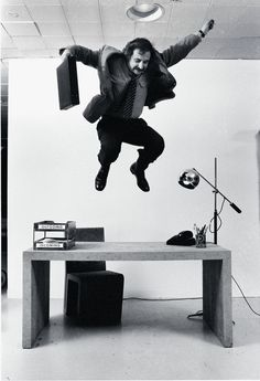 Frank Gehry demonstrates the stability of his cardboard furniture for an article in Time Magazine in 1972. #Vitrahaus #Midcenturymagazine #FrankGehery