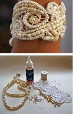 Pearl lace bracelet