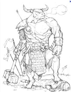 Minotaur by Max-Dunbar on deviantART armor clothes clothing fashion player… Character Concept, Character Art, Concept Art, Mythological Creatures, Fantasy Creatures, Dnd Characters, Fantasy Characters, Fantasy Warrior, Fantasy Art