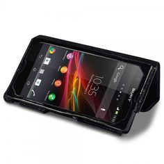 Black  Hand-Crafted Genuine Leather Case for Sony Xperia Z