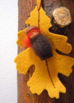 Waldorf Acorn Girl Ornament, Autumn, Fall, nature table, Oak leaf, acorn, brown, red, yellow, gold, acorn cap, NKTeam. $15.00, via Etsy.