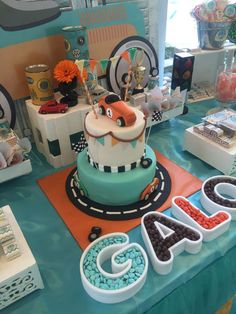 An adorable vintage car inspired birthday cake for this little boys party! See more party ideas at CatchMyParty.com