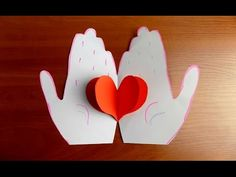 Valentine made of paper with his own hands Valentine's Day Crafts For Kids, Valentine Crafts For Kids, Fathers Day Crafts, Diy For Kids, Valentines, Decoration St Valentin, How To Make Origami, Pop Up Cards, Preschool Crafts