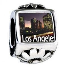 Travel Los Angeles Photo Flower Charms  Fit pandora,trollbeads,chamilia,biagi,soufeel and any customized bracelet/necklaces. #Jewelry #Fashion #Silver# handcraft #DIY #Accessory