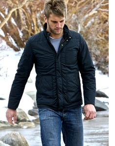 black quilted jacket / grey tee / blue jeans, men fashion