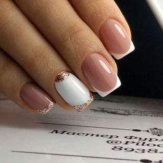 15 Wedding Nail Art Designs For Brides – My hair and beauty Love Nails, Pretty Nails, My Nails, Bridal Nails, Wedding Nails, French Nail Designs, Nail Art Designs, French Nails, Best Acrylic Nails