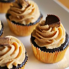 cuppies recipe - chocolate with peanut butter cream cheese frosting