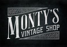 Polyspring (via Logo Design: Monty's Vintage Shop | Swash and Fold)