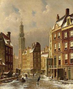 Oene Romkes de Jongh - Winters gezicht op de Munttoren te Amsterdam