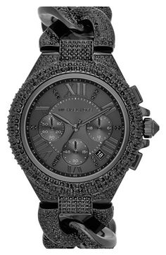 Michael Kors 'Camille' Crystal Encrusted Chain Link Watch, 44mm Ummmmm yes please <3