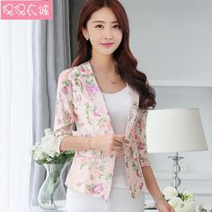 Beautiful 2016 Summer New Suit Female Coat Seven Quarter Sleeve Printing Thin Design Women Jacket Casual Blazer Blue Pink Slim