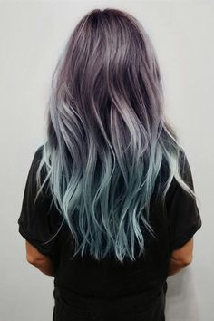 Balayage and Ombre are everyone's favorite. Add in the pastel hair colors. and you have delicate and beautiful hair mixes. Ombre Hair Color, Purple Hair, Turquoise Hair, Pastel Purple, Purple Dye, Teal Orange, Blue Grey, Pink Yellow, Blue Brown