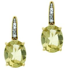 Glitzy Rocks 18k Gold Over Sterling Silver Lime Quartz Earrings (36 AUD) ❤ liked on Polyvore featuring jewelry, earrings, quartz jewelry, 18k earrings, oval earrings, gold quartz jewelry and sterling silver earrings