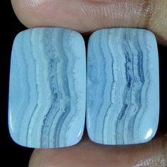 Best Offer Natural Blue Lace Agate cushion Shape Pair Cabochon Loose Gemstone #jaipurgems2016