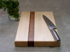Maple Butcher Block Cutting Board with Cherry and Black Walnut