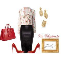 Embora sendo clássico, este look também pode ser utilizado para trabalhar, seguindo uma linha formal, comprimento clássico da saia lápis de couro, camisa floral fundo claro manga comprida, os acessórios são dourados e os sapatos e a bolsa vermelho ardente.