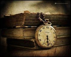 Rustic clock and books
