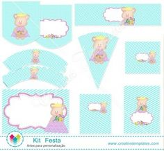 Kit festa Ursinha Princesa mod:106 Printable Party cute Princess Teddy Bear