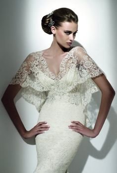 "Elie Saab ""Erato"" lace shawl-sleeve wedding dress: #weddingdress #lace"