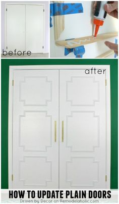 Update plain doors using just molding - Driven by Decor on @Remodelaholic #ShutTheFrontDoorDIY