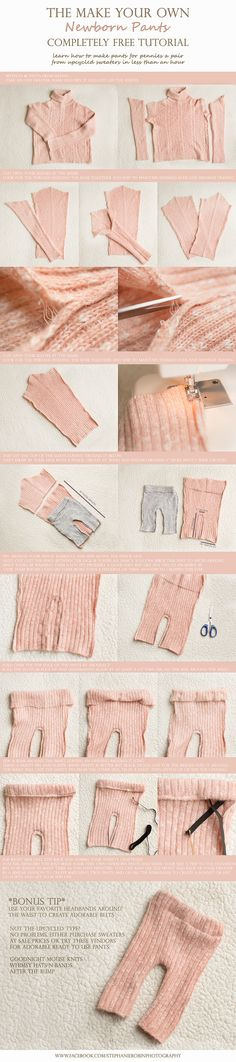 Make your own newborn pants from an old sweater (make a hat to match)Or Doll clothes? Diy Clothing, Sewing Clothes, Doll Clothes, Foto Newborn, Newborn Photo Props, Couture Bb, Pants Tutorial, Accessoires Photo, Creation Couture