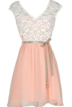 Sonoma Sunset Lace Dress in Cream/Pink