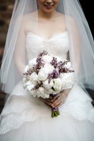 peony and lavender love it-maybe marissa can wear a simpler white too with lavendar accessories and carry just lavendar or throw sprigs.  A white peace be with you lily with greenery would add an extra bit of interest to the event as well.  Good job!