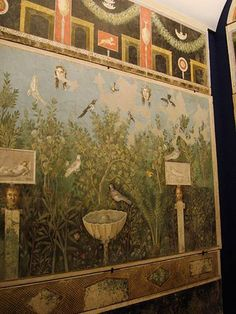 Pompeii. Oecus 32. Part of Garden fresco from N wall. Inventory #40690.    Photo courtesy of Stefano Bolognini (Own work) via Wikimedia Commons