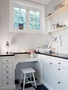 Traditional with a modern touch. Desk idea in a walk in pantry Kitchen Inspirations, Kitchen Corner, Home, Kitchen Cabinets, Small Kitchen, Kitchen Handles, Kitchen Dining, Pantry Design, Kitchen Renovation
