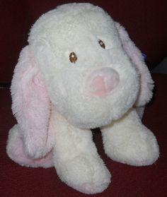 "New Toys R Us Dog Plush Stuffed Cream Pink Puppy 11"" Sewn Brown Eyes 2014 NWT…"