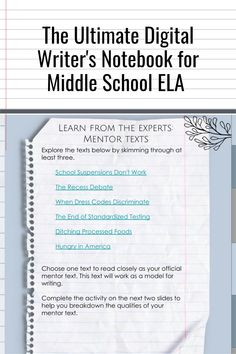 Imagine everything you need to teach writing in one easy-to-navigate place! The Ultimate Digital Writer's Notebook for Middle School ELA will help your middle school ELA students master ALL the writing standards with everything term, graphic organizer, and rubric they need in one place.The Ultimate Writer's Notebook is standards-based and gives student writers the freedom to work through the writing process independently. Grab yours! Writing Mentor Texts, Writing Genres, Research Writing, Narrative Writing, Writing Process, Teaching Writing, Middle School Ela, High School, 7th Grade Ela