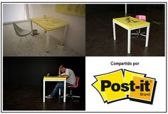 ¿Que tal les parece la idea? Una mesa de Post -It hecha por los amigos de Fresh Home, un blog de Diseño Interior y Arquitectura. Les dejamos el link para que puedan ver la nota completa.    Link: http://freshome.com/2012/06/07/creativity-as-part-of-home-design-post-it-table/