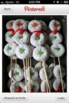 What a cute idea!!! Mini donuts and mike and Ike's!!! :) too cute holiday, christmas parties, christmas morning breakfast, christma morn, christmas snacks, mini donuts, donut snowmen, morn snack, kid