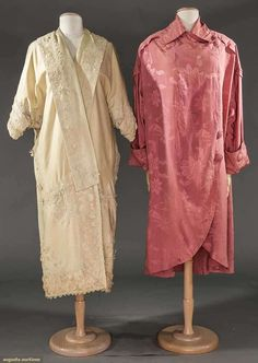 TWO EDWARDIAN EVENING COATS  1 rose silk damask, large buttons; 1 beige wool flannel, Irish lace trim, dolman sleeves