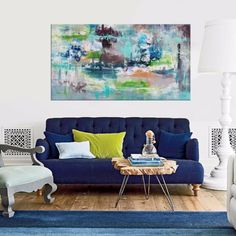 Large Blue abstract art for sale by Paresh Nrshinga