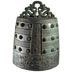 Chinese bronze bell    Eastern Zhou period, China, about 6th – 5th century B.C.  This is one bell originally from a set of bells, of which a number still survive, made at the Jin State foundry at Houma, in modern day Shanxi Province, China.  Music was an essential part of court life in ancient China and there is a long tradition of music making for court ceremonies and ritual. Both drums and bells were used. With the advent of bronze casting, the first small bells appeared in the 17th…