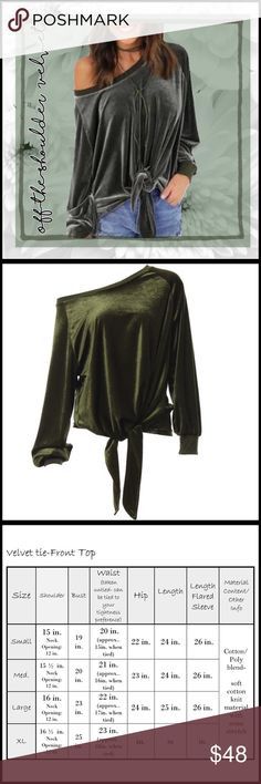 Tie-Front Off-the-Shoulder Tie-Front Off-the-Shoulder;  off-the-shoulder cut , can also be like a boat neck neckline; high quality velvet; color is closer to a true olive green color as in the second picture; has a roomy fit; please see measurement chart to assure size. Boutique Tops