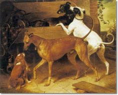 Franz Kruger - Greyhounds - Krugers Dogs 1855 - Approximate Original Size - 50x62 - Sporting Equine Canine Paintings Prints Art Artist Paint...