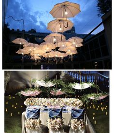 LOVE the lights!! Umbrellas as Wedding Decor   The Perfect Accessory: The Parasol | The blog about all things weddings in Oklahoma