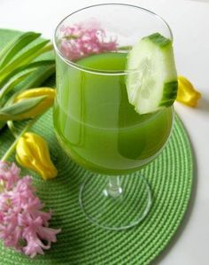 This is good to drink with cooked meals. It's full of digestive enzymes that help break down the cooked foods so you can digest and assimilate the nutrients more efficiently.  Ingredients: 2 large Cucumber, 1 Lime with skin, 1/2 cup Parsley, 1 Zucchini, 1 or 2 Apples, 1 inch Ginger Root.