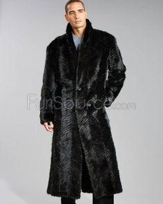 mens fur coats   Black Men\'s Double-Breasted Chevron Textured Mink Fur Coat