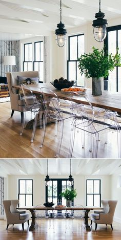 industrial lights and wood table and clear ghost chairs in dining room
