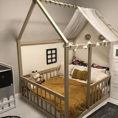 Full Size Montessori Floor Bed to Raised Bed Frame Convertible With Rails Full Floor Bed Hardwood 4 Railing+Legs+Slats Full Size Toddler Bed, Toddler House Bed, Diy Toddler Bed, Toddler Rooms, Floor Beds For Toddlers, Toddler Floor Bed Frame, House Beds For Kids, House Frame Bed, Diy Bed Frame