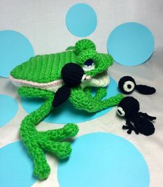 (4) Name: 'Crocheting : Mama Frog and tadpoles amigurumi