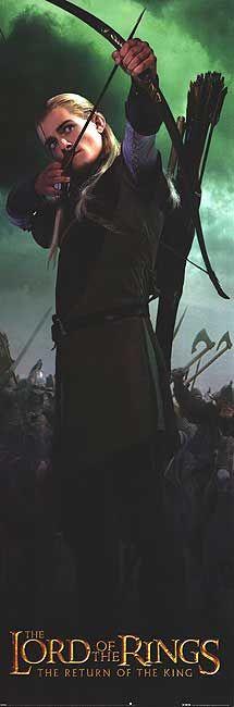 Legolas' bow and arrow are at the ready.