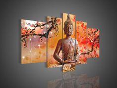 Boeddha schilderij / print / 5 luik xxl / oranje