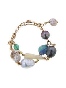 Diamond Pave, Emerald, Opal, and Mixed Pearl Bracelet